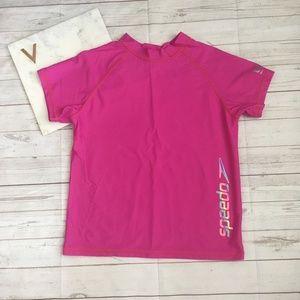 speedo girls xl pink rashguard swim shirt short sl
